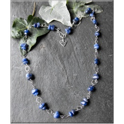 Sodalite and silver link necklace